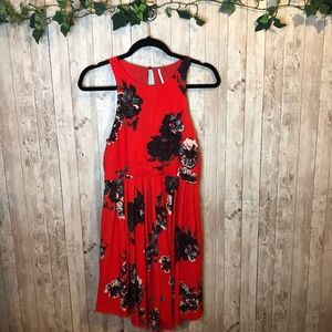 Free People Floral Print Pleated Flair Dress